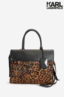 Karl Lagerfeld Leopard Icon Top Handle Tote Bag