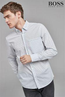 BOSS White Rain Drop Print Shirt