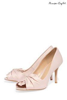 Phase Eight Pink Alice Satin Bow Peep Toe Shoe