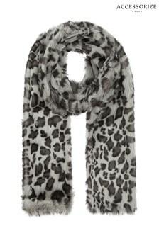 Accessorize Snow Leopard Print Faux Fur Scarf