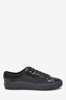 Borg Collar Lace-Up Trainers