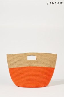 Jigsaw Orange Lia Block Jute Bag