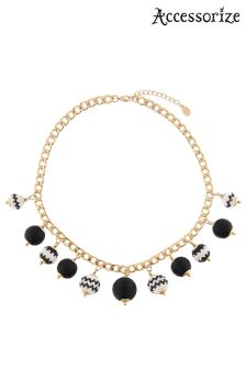 Accessorize Black Monochrome Bobble Collar Necklace