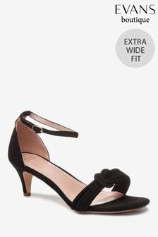 Evans Black Extra Wide Fit Padded Kitten Heel Sandals