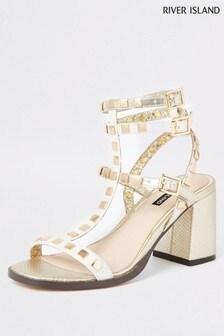 River Island Gold Studded Gladiator Block Heel Sandal