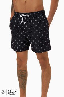 Original Penguin® Black Elastic Voll Swim Shorts