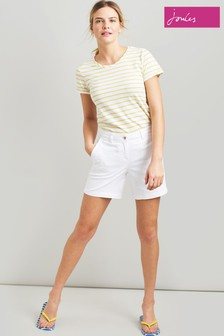 Joules White Cruise Mid Thigh Length Chino Short