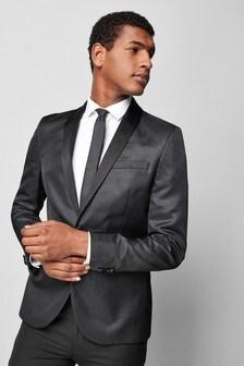 Приталенный пиджак-смокинг с эффектом металлик