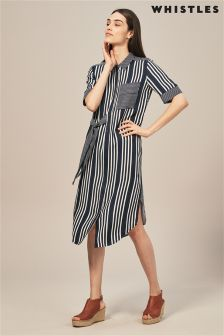 Whistles Navy Stripe Tie Dress