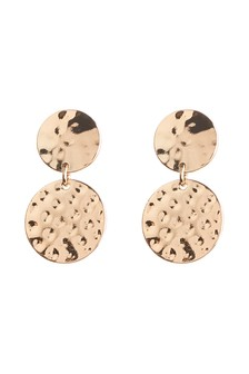 Clip-On Hammered Drop Earrings