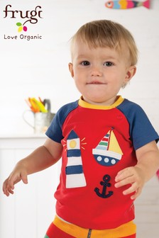 Frugi Organic Navy And Red Lighthouse Appliqué T-Shirt