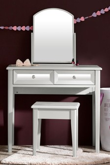 Ella Brushed Silver and Mirror Effect Dresser and Stool Set