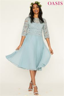 Oasis Green Ellie 3/4 Sleeve Lace Top Pleated Midi Dress