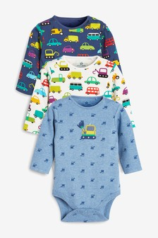 3 Pack Digger Transport Long Sleeve Bodysuits (0mths-2yrs)