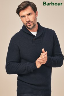 Barbour® Navy Honeycomb Shawl Neck Jumper