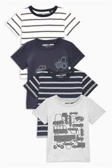 Pack de cuatro camisetas rayas y coches (3 meses-6 años)