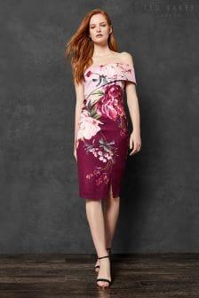 Ted Baker Irlina Pink Floral One Shoulder Dress