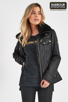 Barbour International Black Waxed Biker Jacket