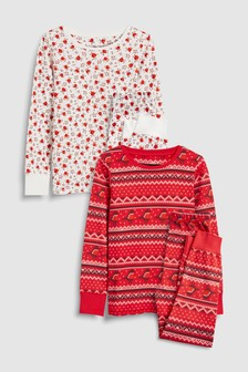 Fairisle Pattern/Floral Snuggle Fit Pyjamas Two Pack (3-16yrs)