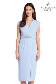 8b8f7c71df70 Modré tkané puzdrové šaty Adrianna Papell Cameron s opaskom