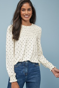 Smocked Long Sleeve Top