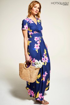 HotSquash Blue Floral Short Sleeved Empire Line Maxi Dress