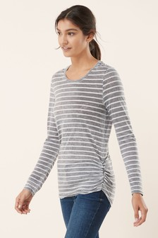 Washed Ruched Stripe Top