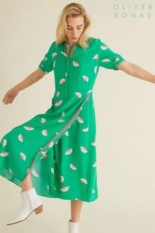 Oliver Bonas Kleid mit Blütenmuster, Grün/Weiß