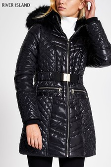 River Island Black Longline High Shine Belted Coat