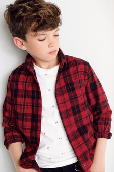 Long Sleeve Check Shirt And Printed T-Shirt Set (3-16yrs)