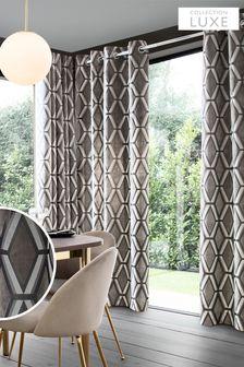 Роскошные коллекционные шторы из стриженого бархата, с люверсами и геометрическим принтом