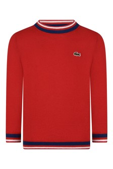 Boys Red Knitted Crew Neck Sweatshirt