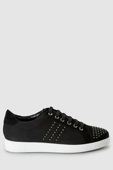 Signature Comfort Stud Leather Lace-Up Trainers