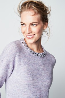 Embellished Neck Sweater