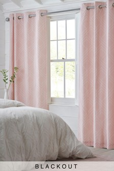Geo Lines Blackout Eyelet Curtains