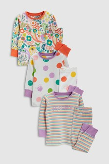 Spot And Stripe Snuggle Fit Pyjamas Three Pack (9mths-8yrs)