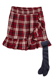 Check Frill Skirt With Tights (3-16yrs)