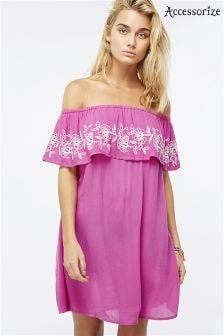 Accessorize Pink Erin Embroidered Off Shoulder Dress