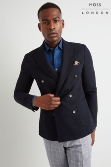 Moss London Skinny Fit Navy Double Breasted Blazer