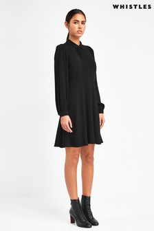 Whistles Black Agata Shirt Dress