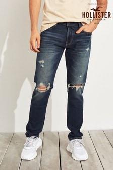 ג'ינס סקיני קרוע בשטיפה כהה של Hollister