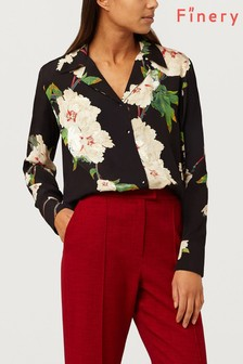 Finery London Ester Black Floral Print Shirt
