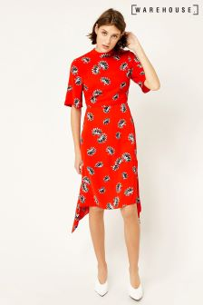 Warehouse Red Fan Floral Open Back Midi Dress