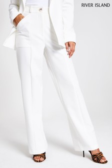 River Island White Utility Wide Turn Up Trousers