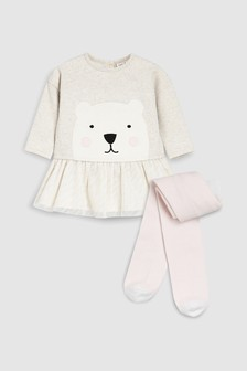 Polar Bear Tutu Dress And Tights (0mths-2yrs)