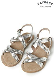 FatFace Silver Emma Plaited Sandal