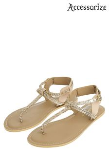 Accessorize Gold Jen Plaited Sandal