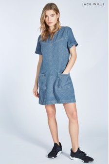 Jack Wills Louden T-Shirt-Kleid aus Denim, indigoblau