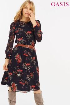 Oasis Blue Autumn Garden Blouse Dress