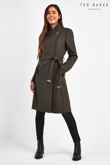 Ted Baker Green Long Belted Wrap Coat